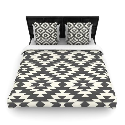Amanda Lane Navajo Tribal Geometric Woven Duvet Cover Color: Black, Size: Full/Queen