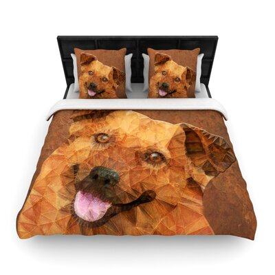 Ancello Abstract Puppy Geometric Woven Duvet Cover Size: Twin
