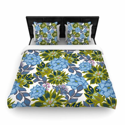 Amy Reber Blue Dahlias Floral Woven Duvet Cover Size: Twin