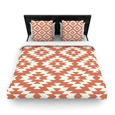Amanda Lane Navajo Tribal Geometric Woven Duvet Cover Color: Red, Size: Twin