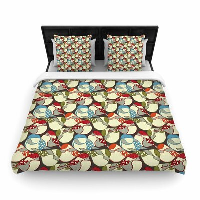 Amy Reber Chickadees Woven Duvet Cover Size: King