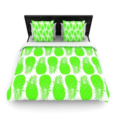 Anchobee Pinya  Woven Duvet Cover Color: Green, Size: Full/Queen