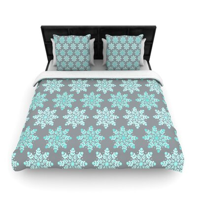 Anchobee Blue Christmas Woven Duvet Cover Size: King