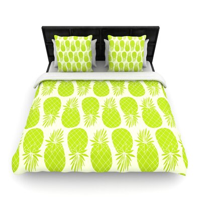 Anchobee Pinya Neon Woven Duvet Cover Color: Lime