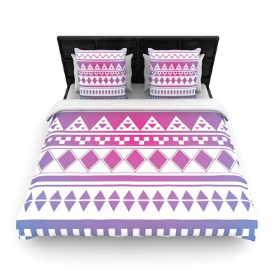 Belinda Gilles Rainbow Aztec Woven Duvet Cover Color: Purple/Blue, Size: King