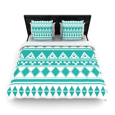 Belinda Gilles Rainbow Aztec Woven Duvet Cover Color: Teal/Green, Size: Full/Queen
