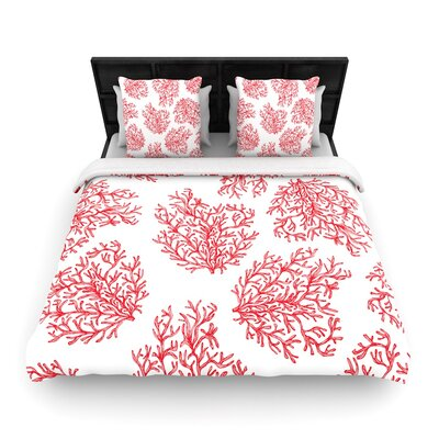 Anchobee Coral Woven Duvet Cover Size: Full/Queen