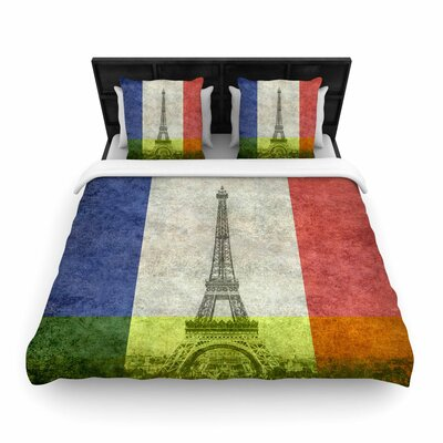 Bruce Stanfield  Vintage Paris Mixed Media Travel Woven Duvet Cover Size: Full/Queen