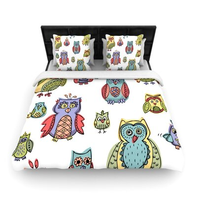 Brienne Jepkema Owls Woven Duvet Cover Size: Full/Queen