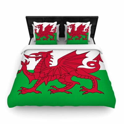 Bruce Stanfield Flag of Wales - Authentic Fantasy  Woven Duvet Cover Size: Twin