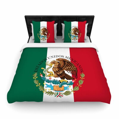 Bruce Stanfield Mexico Flag and Coat of Arms Woven Duvet Cover Size: King