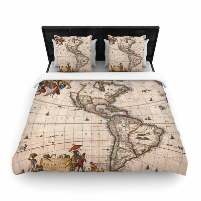 Bruce Stanfield Vintage Map of the Americas Woven Duvet Cover Size: King
