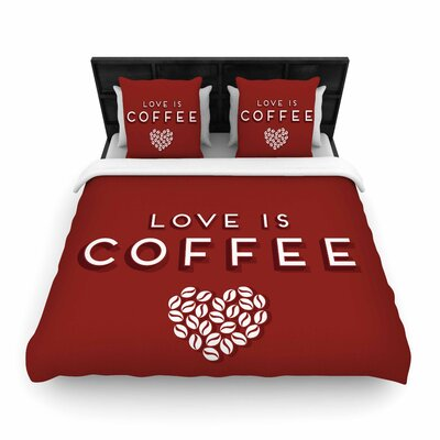 Busy Bree Coffee Love Woven Duvet Cover Size: Full/Queen