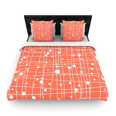 Budi Kwan Woven Web Mono Woven Duvet Color: Orange, Size: Twin