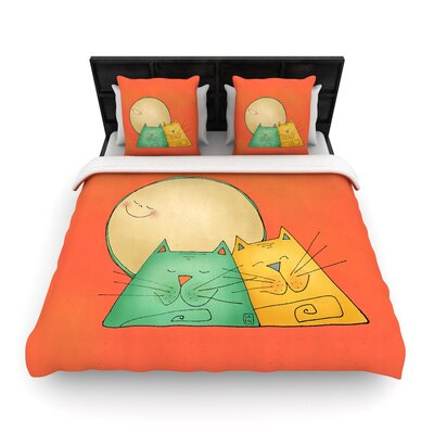 Carina Povarchik 2 Gatos Romance Love Cats Woven Duvet Cover Size: Twin