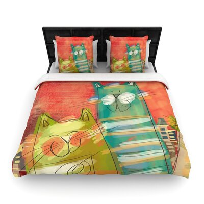 Carina Povarchik Gatos Cat Woven Duvet Cover Size: Full/Queen