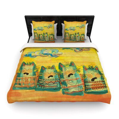 Carina Povarchik Singing Cats Woven Duvet Cover Size: King