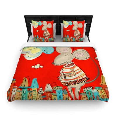 Carina Povarchik Urban Mouse Woven Duvet Cover Size: Twin, Color: Red