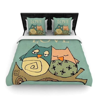 Carina Povarchik Lechuzas Love Owls Woven Duvet Cover Size: Full/Queen