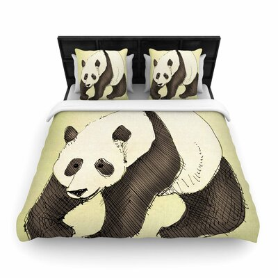 Carina Povarchik Happy Panda Animals Woven Duvet Cover Size: Full/Queen