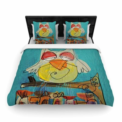 Carina Povarchik Urban Owl Teal Kids Woven Duvet Cover Size: Full/Queen