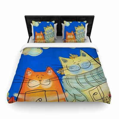 Carina Povarchik Happy Cats in the City Woven Duvet Cover Size: King