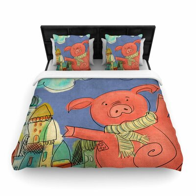 Carina Povarchik Happy Urban Pig Woven Duvet Cover Size: Full/Queen