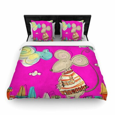 Carina Povarchik Urban Mouse Woven Duvet Cover Color: Magenta, Size: King