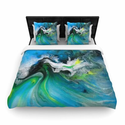 Carol Schiff Turquoise and Green Abstract Woven Duvet Cover Size: Twin