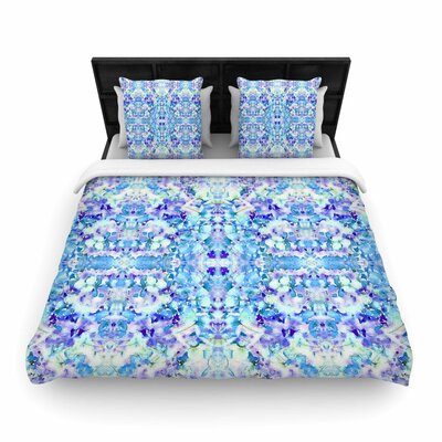 Carolyn Greifeld Floral Fantasy Blue Reflection Woven Duvet Cover Size: Twin