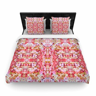 Carolyn Greifeld Floral Fantasy Reflection Woven Duvet Cover Color: Pink, Size: King