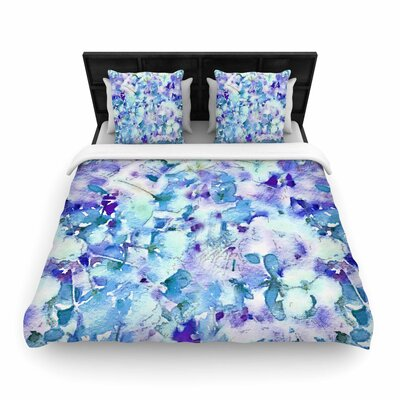 Carolyn Greifeld Floral Fantasy Abstract Woven Duvet Cover Color: Blue, Size: Full/Queen