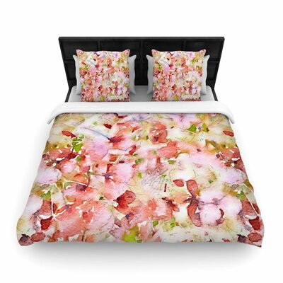 Carolyn Greifeld Floral Fantasy Abstract Woven Duvet Cover Color: Pink, Size: Twin