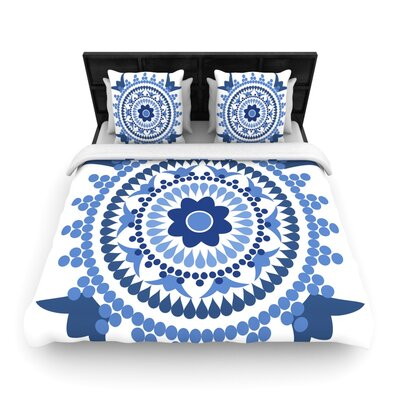 Carolyn Greifeld Bohemian Blues Woven Duvet Cover Size: King