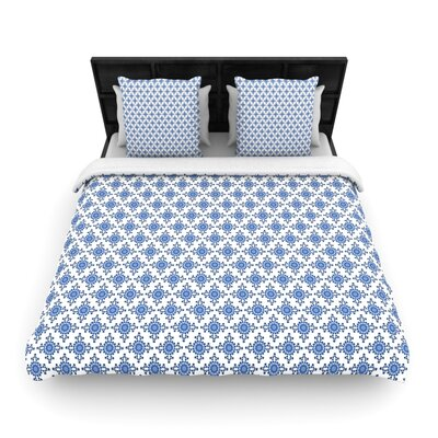 Carolyn Greifeld Bohemian Blues II Woven Duvet Cover Size: King, Color: White/Blue