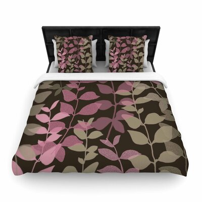 Carolyn Greifeld Leaves of Fantasy Woven Duvet Cover Color: Pink, Size: Full/Queen