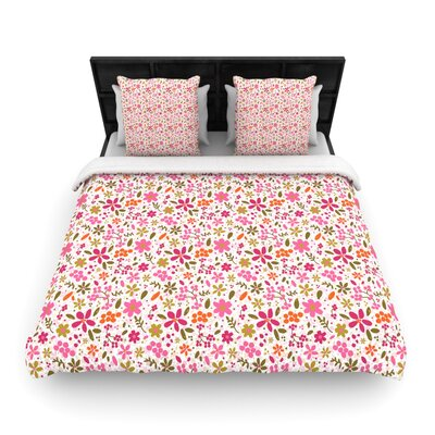 Carolyn Greifeld 'Pink Flowers Garden' Woven Duvet Cover Size: Full/Queen