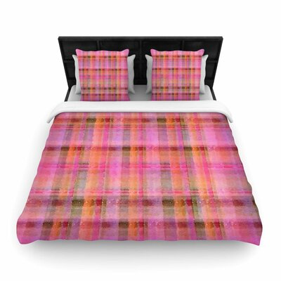 Carolyn Greifeld Watercolor Plaid Woven Duvet Cover Color: Pink, Size: Twin