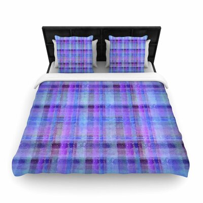 Carolyn Greifeld Watercolor Plaid Woven Duvet Cover Size: Full/Queen, Color: Blue