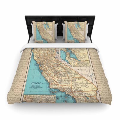 Catherine Holcombe 'So Cal Surf Map' Woven Duvet Cover Size: King