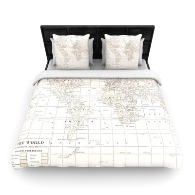Catherine Holcombe The Old World Woven Duvet Cover Color: Cream, Size: King