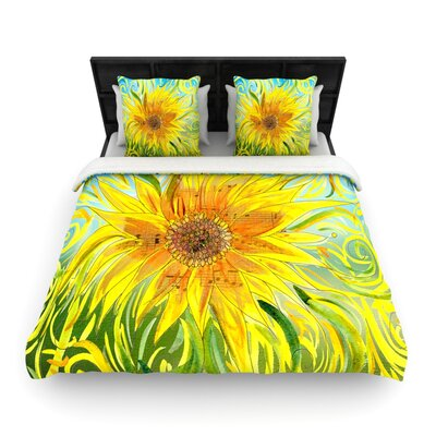 Catherine Holcombe 'Sunflower Symphony' Woven Duvet Cover Size: Full/Queen