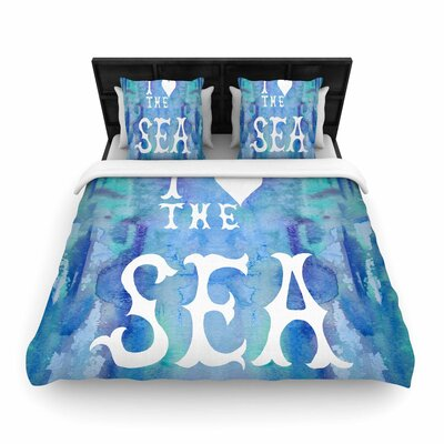 Catherine Holcombe I Love the Sea 2 Woven Duvet Cover Size: Twin