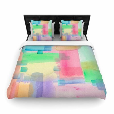 Catherine Holcombe Watercolor Brushstrokes Modern Woven Duvet Cover Size: Twin