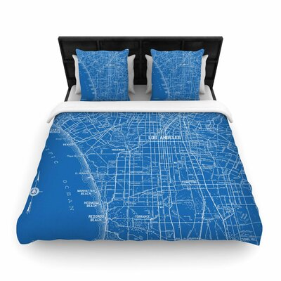 Catherine Holcombe Los Angeles Streets Map Woven Duvet Cover Size: Full/Queen