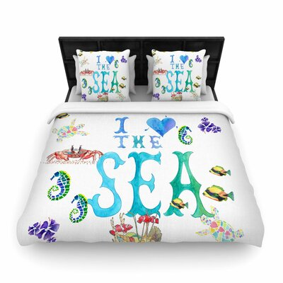 Catherine Holcombe I Love the Sea Ocean Typography Woven Duvet Cover