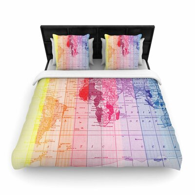 Catherine Holcombe Rainbow World Map Travel Woven Duvet Cover Size: King