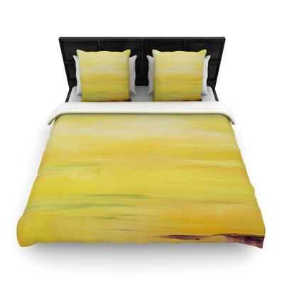 Cathy Rodgers Yellow Sunrise Woven Duvet Cover Size: King