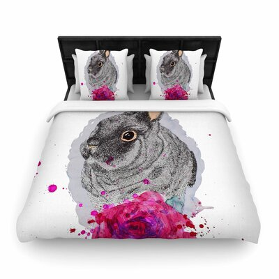 Cecibd Bunny Rose Animals Woven Duvet Cover Size: Full/Queen