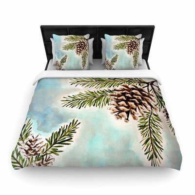 Christen Treat Pinecones and Sky Woven Duvet Cover
